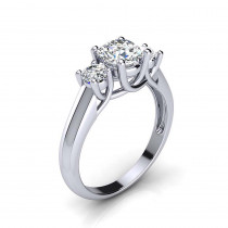 Platinum Past Present Future Diamond Engagement Ring 1.1ct by Luxurman