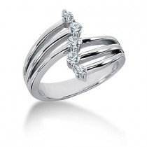 Platinum Right Hand Diamond Ladies Ring 0.34ct