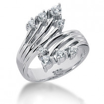 Platinum Right Hand Diamond Ladies Ring 0.42ct