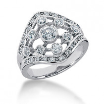 Platinum Right Hand Diamond Ladies Ring 0.66ct