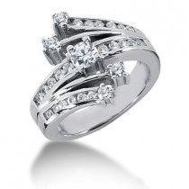 Platinum Right Hand Diamond Ladies Ring 0.79ct