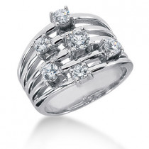Platinum Right Hand Diamond Ladies Ring 0.95ct