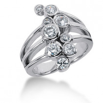 Platinum Right Hand Diamond Ladies Ring 1.10ct