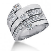 Platinum Right Hand Diamond Ladies Ring 1.16ct