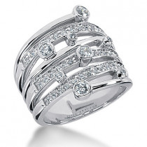 Platinum Right Hand Diamond Ladies Ring 1.23ct