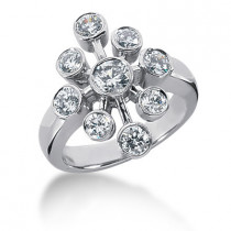Platinum Right Hand Diamond Ladies Ring 1.30ct