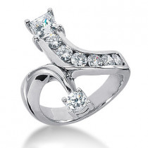 Platinum Right Hand Diamond Ladies Ring 1.47ct