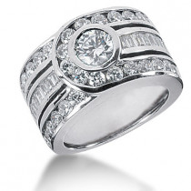 Platinum Right Hand Diamond Ladies Ring 3.01ct
