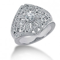 Platinum Right Hand Ladies Diamond Ring 0.74ct