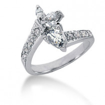 Platinum Right Hand Ladies Diamond Ring 0.87ct