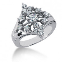 Platinum Right Hand Ladies Diamond Ring 0.95ct