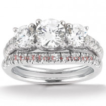 Platinum Round Diamond Engagement Ring Set 2ct