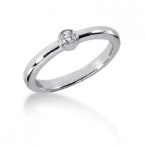 Thin Stackable Solitaire Platinum Round G VS Diamond Ladies Ring 0.10ct