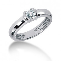 Thin Platinum Round Diamond Ladies Ring 0.30ct