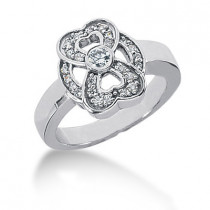 Platinum Round Diamond Ladies Ring 0.34ct
