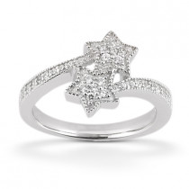 Thin Platinum Round Diamond Ladies Ring 0.52ct