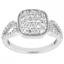 Platinum Round Diamond Ladies Ring 0.59ct