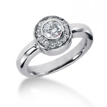 Thin Platinum Round Diamond Ladies Ring 0.71ct