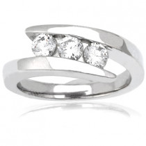 Thin Platinum Round Diamond Ladies Ring 0.75ct