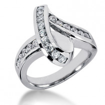 Platinum Round Diamond Ladies Ring 0.80ct
