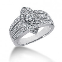 Platinum Round Diamond Ladies Ring 0.82ct