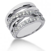 Platinum Round Diamond Ladies Ring 0.87ct