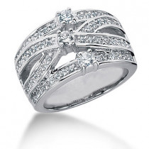 Platinum Round Diamond Ladies Ring 0.88ct