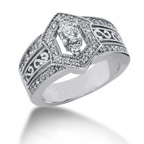 Platinum Round Diamond Ladies Ring 0.91ct