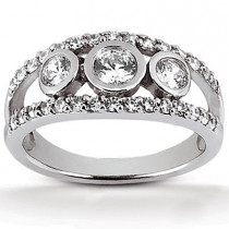 Platinum Round Diamond Ladies Ring 0.93ct
