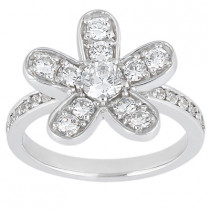 Thin Platinum Round Diamond Ladies Ring 1.03ct