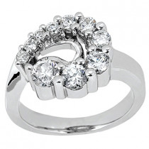 Platinum Round Diamond Ladies Ring 1.05ct