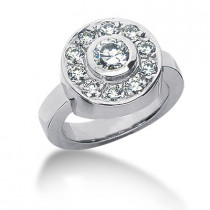 Platinum Round Diamond Ladies Ring 1.10ct