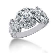 Platinum Round Diamond Ladies Ring 1.17ct