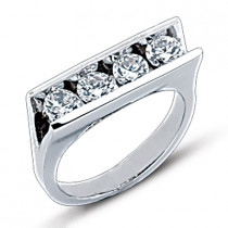 Thin Platinum Round Diamond Ladies Ring 1.20ct
