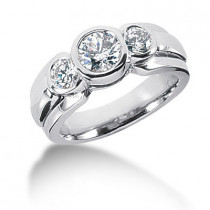 Platinum Round Diamond Ladies Ring 1.25ct
