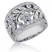 Platinum Round Diamond Ladies Ring 1.26ct