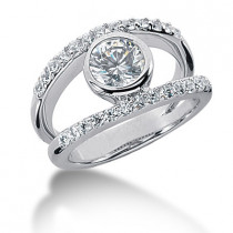 Platinum Round Diamond Ladies Ring 1.27ct