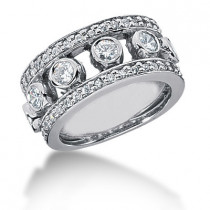 Platinum Round Diamond Ladies Ring 1.28ct