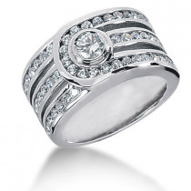 Platinum Round Diamond Ladies Ring 1.29ct