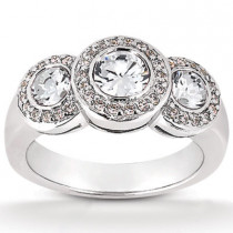 Platinum Round Diamond Ladies Ring 1.30ct