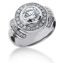 Platinum Round Diamond Ladies Ring 1.34ct