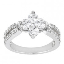 Platinum Round Diamond Ladies Ring 1.36ct