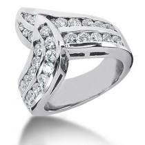 Platinum Round Diamond Ladies Ring 1.61ct