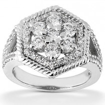 Platinum Round Diamond Ladies Ring 1.65ct