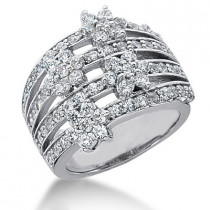 Platinum Round Diamond Ladies Ring 1.68ct