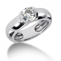 Platinum Round Diamond Ladies Ring 1ct