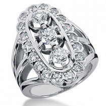 Platinum Round Diamond Ladies Ring 2.18ct