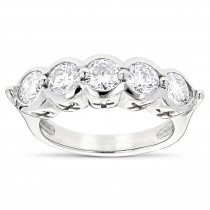 Platinum Round Diamond Ladies Ring 2.25ct 5 Stone Anniversary Band