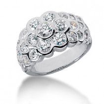 Platinum Round Diamond Ladies Ring 2.29ct