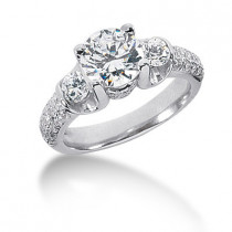 Thin Platinum Round Diamond Ladies Ring 2.43ct